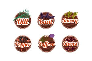 Herbs and spices kitchen badges set