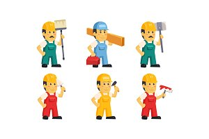 Builder workers in uniform with