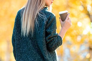 Fall concept - beautiful woman drink