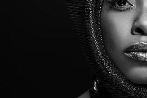 black and white photo of stylish afr
