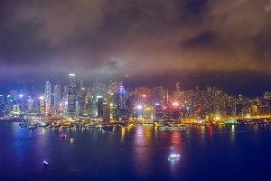Aerial view of illuminated Hong Kong