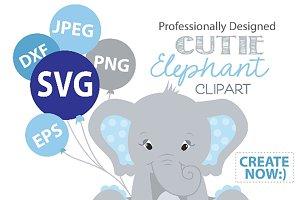 Elephant Svg vector clipart blue boy
