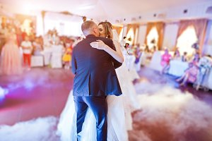 Amazing first wedding dance with fog