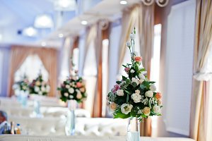 Decor on wedding reception, bouquets