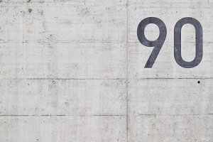 Number 90 on concrete
