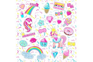 Collection Princess Icons. Rainbow