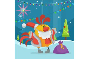 Rooster Bird in Santa's Cloth with