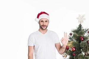 portrait of man in santa claus hat s