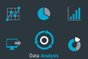 Data analysis simple icons