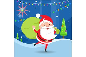 Santa Claus Waving and Holding Bag