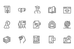 School and University Line Icons