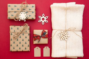 Christmas presents on red background