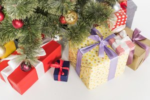 close up view of wrapped presents un