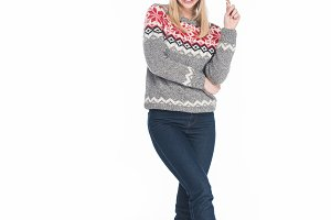 young smiling woman in sweater and s