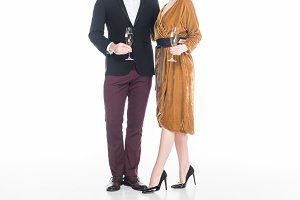 partial view of stylish couple with