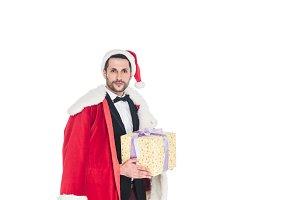 portrait of stylish man in santa cla