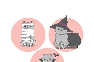 Halloween cute cats vampire, mummy