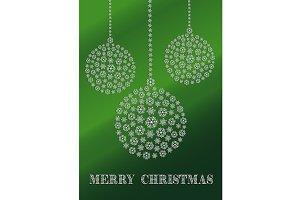 Green Christmas ornaments card
