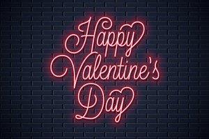 Valentines day neon sign.