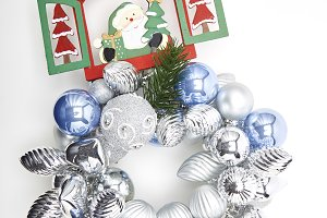 Merry Christmas ornaments in white b