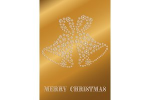 Golden Christmas card with bells