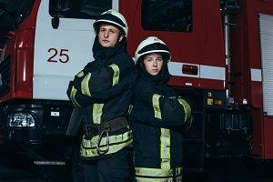 portrait of firefighters in fireproo