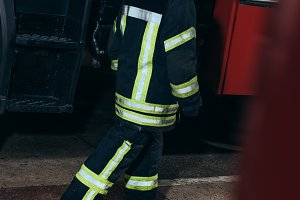 female firefighter in uniform and he