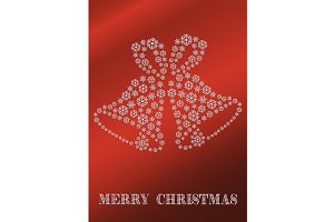 Red Christmas card with bells