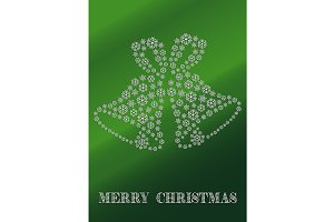 Green Christmas card with bells