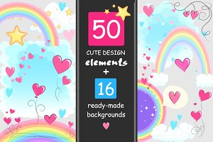 Cute elements set + backgrounds
