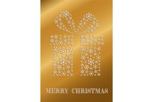 Golden Christmas card with a present