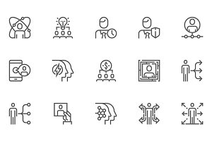 Human Resource Line Icons