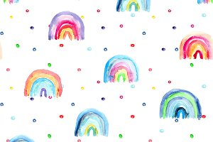 Watercolor rainbow seamless pattern