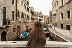 Female enjoying view of Venice