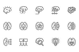 Brainstorming Line Icons