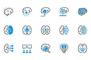 Brainstorming Flat Line Icons