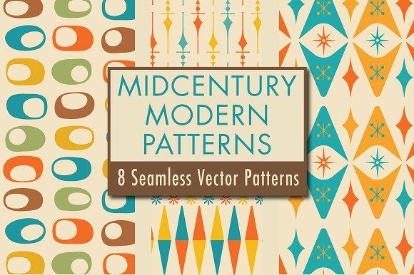 Mid Century Modern Patterns Design Graphic Patterns Creative Market