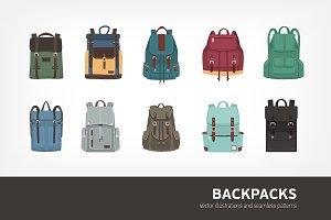 Backpacks bundle and seamless