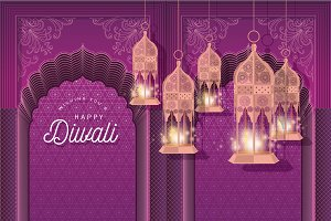 diwali greeting template vector