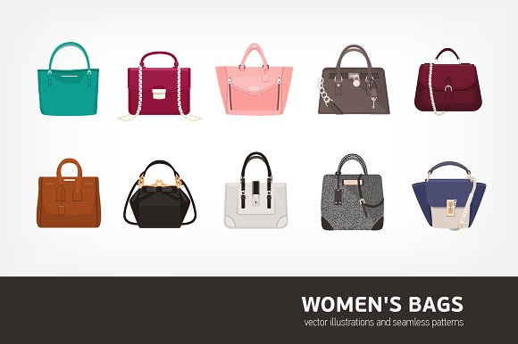 Women s bags bundle and seamless ~ Illustrations ~ Creative Market ef1aff4728