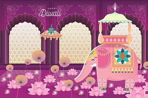 diwali greeting card template vector