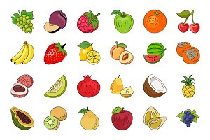 Fruits and Vegetables Sketch Icons