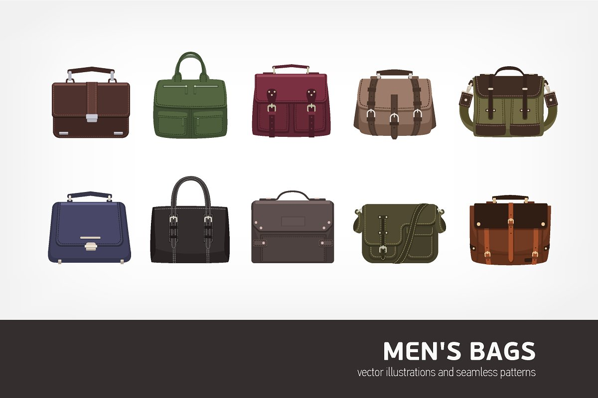 50fcae34 Men's bags bundle and seamless ~ Illustrations ~ Creative Market