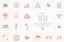 PNG 101 Hand Drawn Logo Elements by  in Illustrations