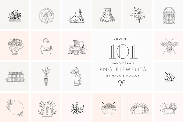 Illustrations and Illustration Products: Maggie Molloy - PNG 101 Hand Drawn Logo Elements