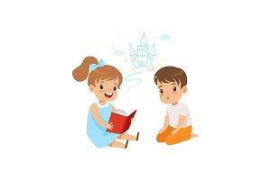 Lovely girl reading fairy tail