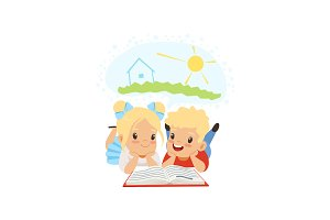 Cute little boy and girl reading