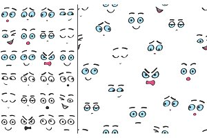 Color line emoji cartoon faces