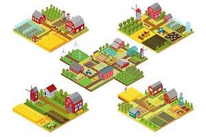 Vector 3d isometric rural farms