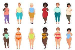 Fat woman in casual, bathing dress